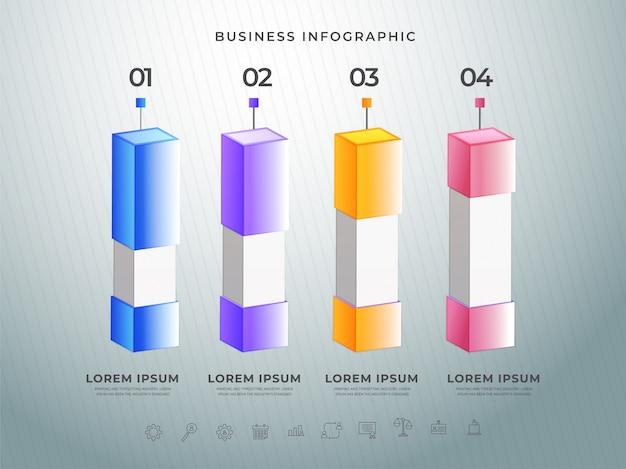 Красочная 3d инфографика с вашими номерами шагов Premium векторы