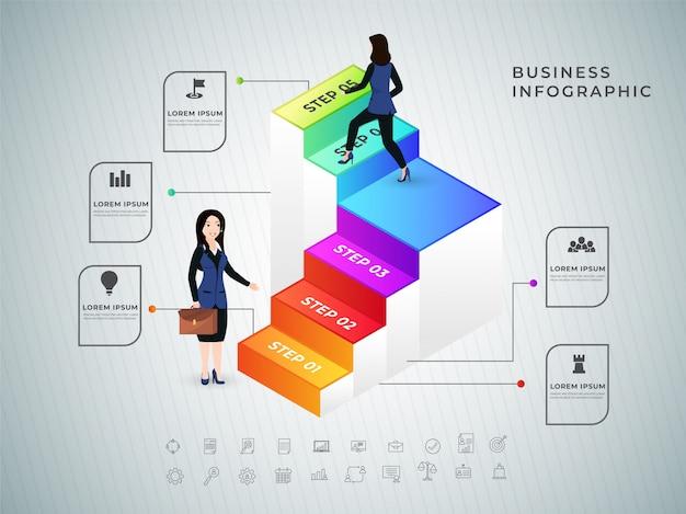 ビジネススーツのビジネスウーマンは、3d列を登ります。成功しました Premiumベクター