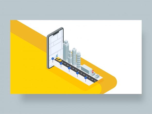 3d изометрический дизайн приложения для отслеживания местоположения такси или кабины. Premium векторы