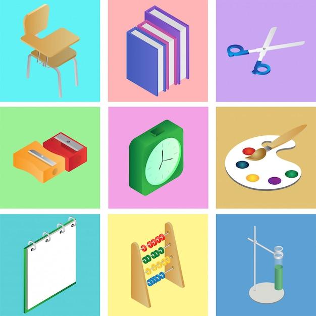 Набор 3d школьных элементов или принадлежностей Premium векторы