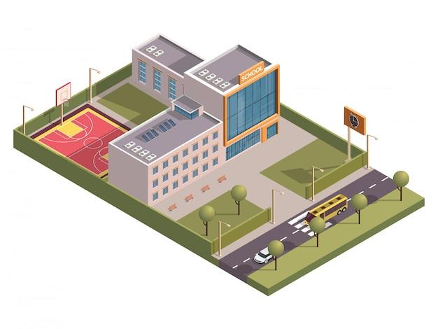 車両通りに沿って時計台とバスケットボールのグラウンドがある校舎の3dアイソメ。 Premiumベクター