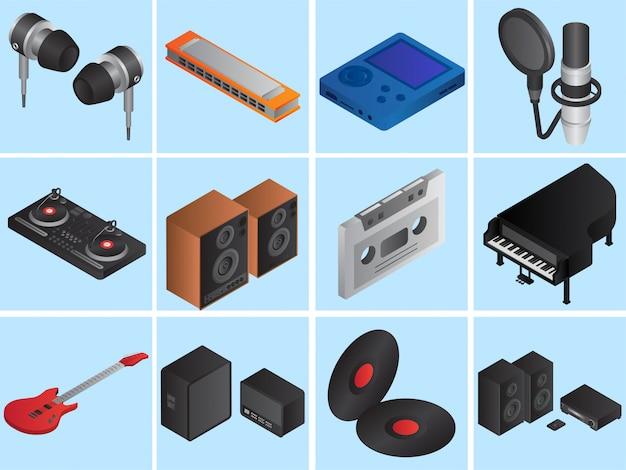 Набор 3d музыкальных инструментов Premium векторы