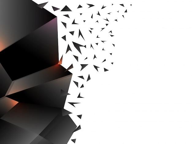 バースト効果と3d光沢のある暗い抽象幾何学要素。 無料ベクター
