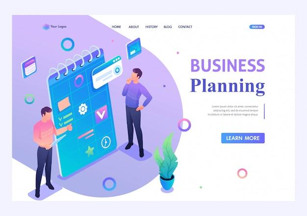 Молодые люди занимаются составлением бизнес-плана. концепция современных технологий. 3d изометрии. концепции целевых страниц и веб-дизайн Premium векторы