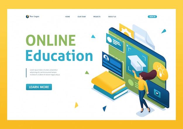 Молодые люди занимаются онлайн-обучением с помощью планшета. 3d изометрии. Premium векторы