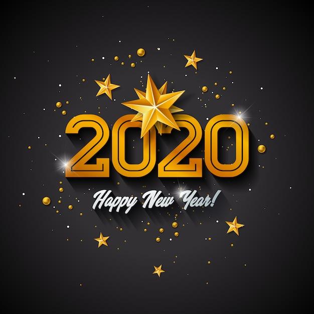 С новым годом иллюстрация с 3d золотым номером, елочный шар и огни гирлянды Бесплатные векторы