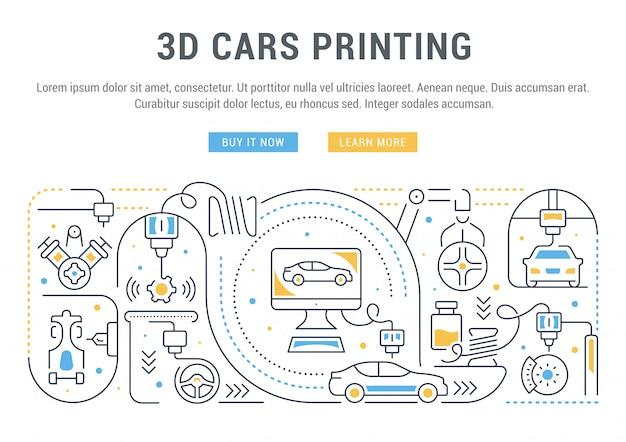 3d車の印刷の線形バナー。 Premiumベクター