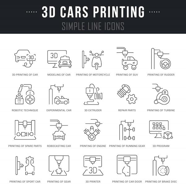 3d車の印刷のベクトル線アイコンを設定します。 Premiumベクター