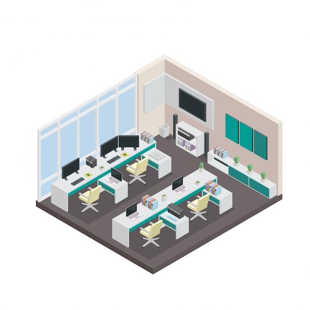 現代アイソメ3dオフィスインテリアデザイン 無料ベクター