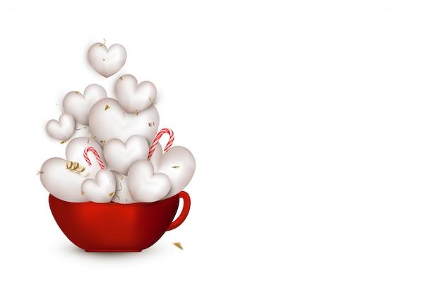 Открытка с днем святого валентина. красная чашка с милые белые 3d сердца, летающие конфетти, серпантин, леденцы на палочке. иллюстрации. Premium векторы