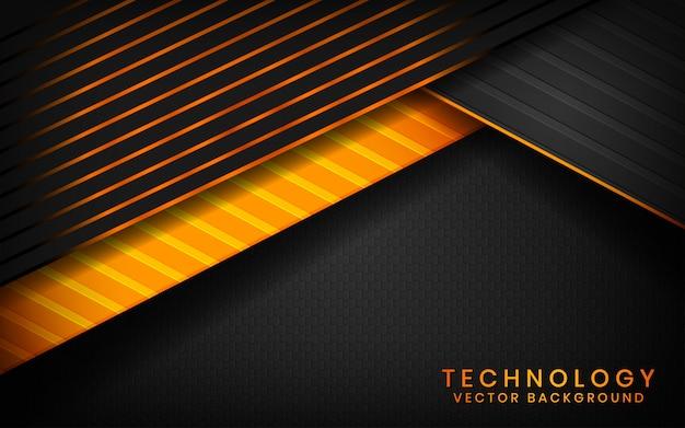 Абстрактные 3d черные технологии фон перекрывают слои на темном пространстве с оранжевым световым эффектом украшения Premium векторы