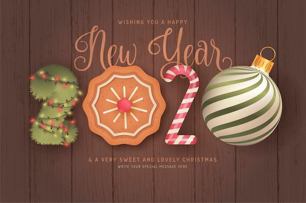 Симпатичный фон с новым годом с 3d-элементами Бесплатные векторы