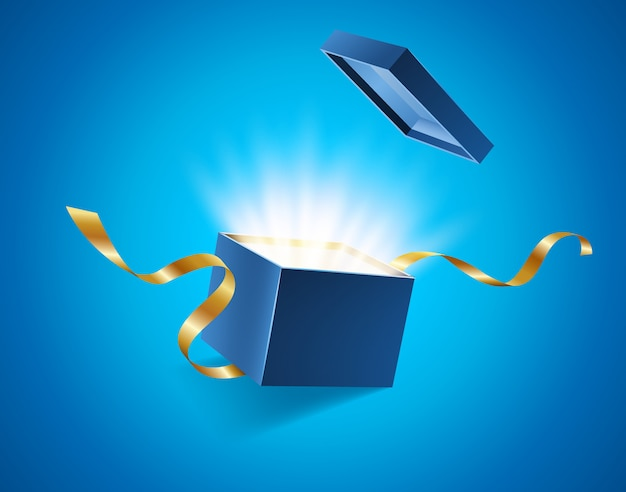 Синяя открытая 3d реалистичная подарочная коробка с волшебным сияющим сиянием и летающими золотыми лентами Premium векторы