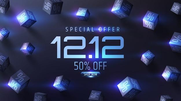 Специальное предложение продажа баннера с 3d черными кубиками процентов Premium векторы