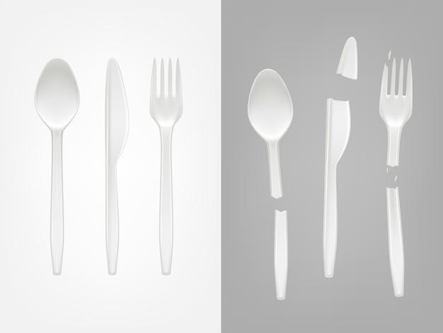 3d現実的な使い捨てプラスチックカトラリー - スプーン、フォーク、ナイフ、壊れた道具 無料ベクター
