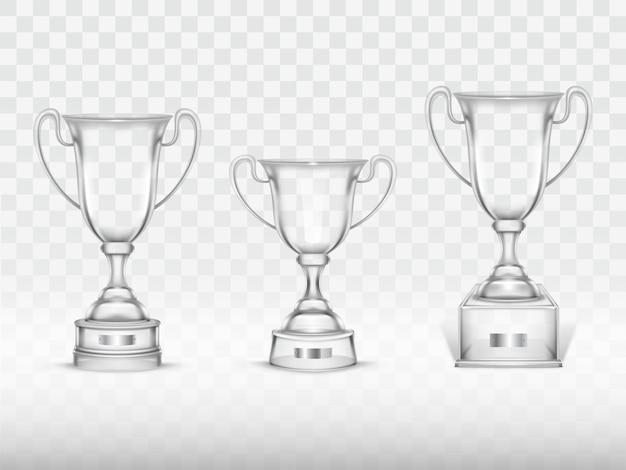 3d現実的なカップ、競争の勝者のための透明なガラスのトロフィー、選手権。 無料ベクター