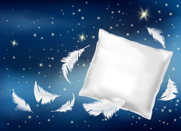 3d реалистичная иллюстрация с белой подушкой и перьями Бесплатные векторы