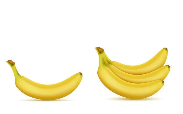 3d реалистичный набор тропических бананов. желтые экзотические сладкие фрукты для рекламного баннера, плакат Бесплатные векторы