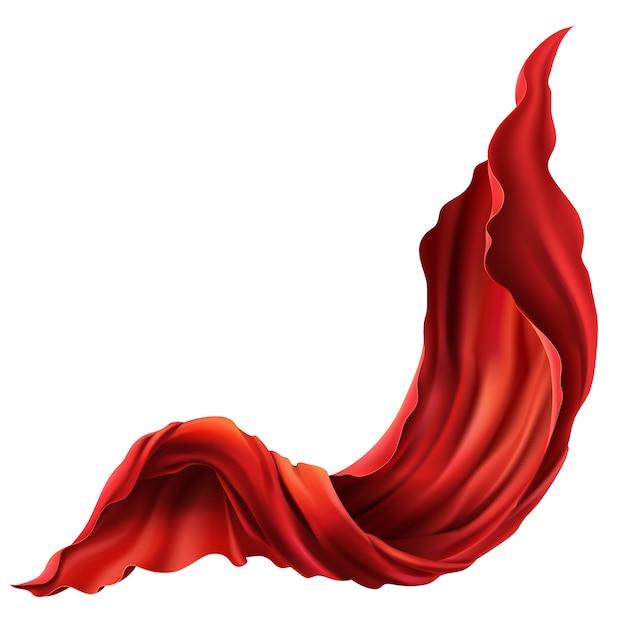 3d現実的な飛行赤い布。白い背景に流れる流れるサテンの布 無料ベクター
