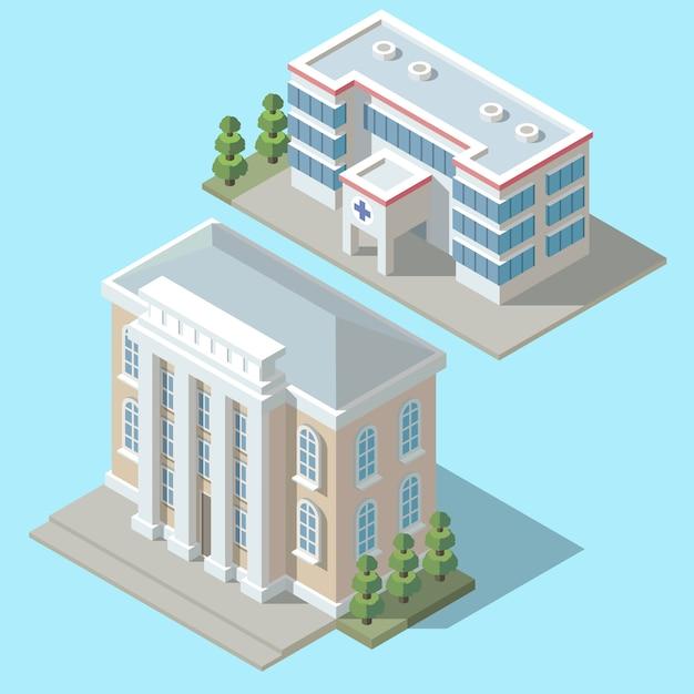 3dアイソメ病院、緑の木々を持つ救急車の建物。漫画クリニックの外装 無料ベクター