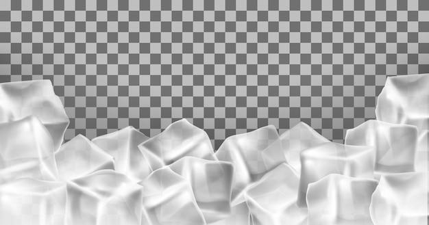 ベクトル3d現実的な氷のキューブフレーム、境界線。正方形の透明な凍結オブジェクト。霜ブロック分離 無料ベクター