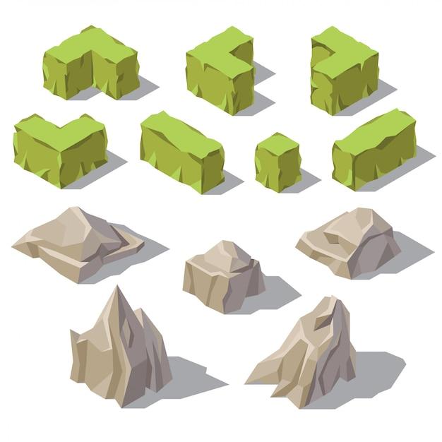 3dアイソメの緑色の茂み、灰色の石、庭の景色のための岩。自然オブジェクト 無料ベクター