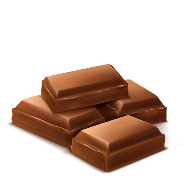 3dの現実的なチョコレートの作品。パッケージングのための茶色のおいしいバー、パッケージテンプレート 無料ベクター