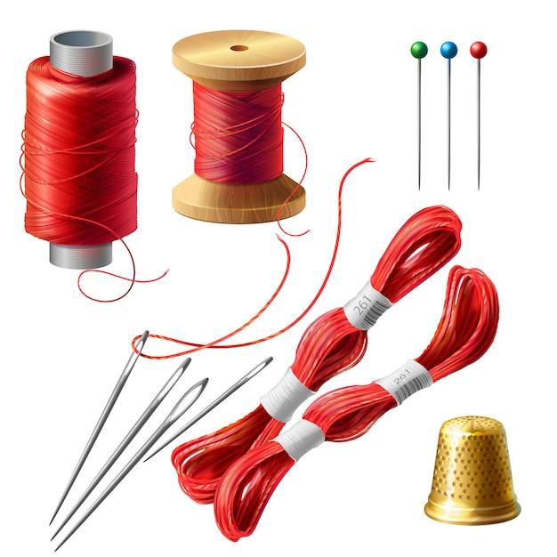 3dリアルなテーラーセット。縫製のための糸、針およびピンを備えた木製リール 無料ベクター