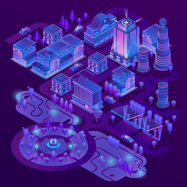 3dアイソメメガポリス、公園紫色の都市。高層ビルや建物のコレクション 無料ベクター