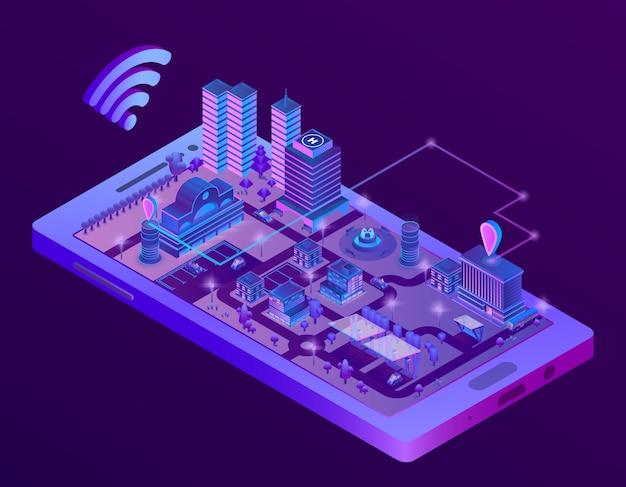 スマートフォン画面上の3dアイソメスマートシティ、ナビゲーションマーカー付き町の地図 無料ベクター