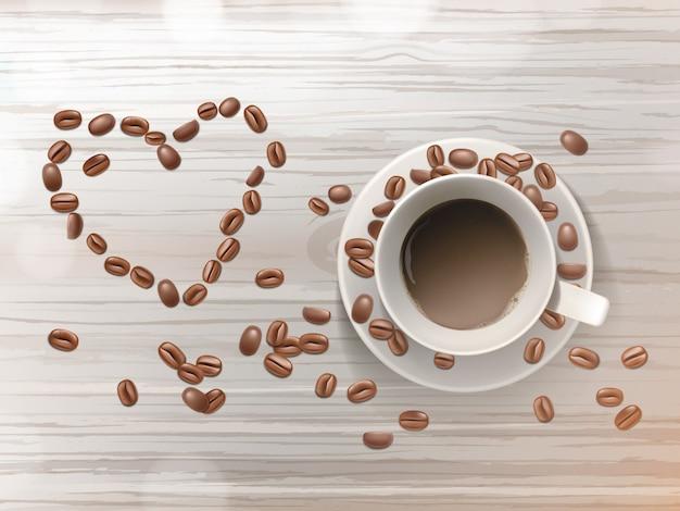 3d реалистичные чашки кофе на блюдце, изолированных на деревянный стол. бобы в форме любви. Бесплатные векторы