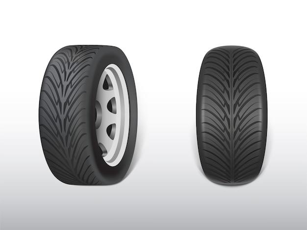 3d реалистичная черная шина, блестящая сталь и резиновое колесо для автомобиля, автомобиль. Бесплатные векторы