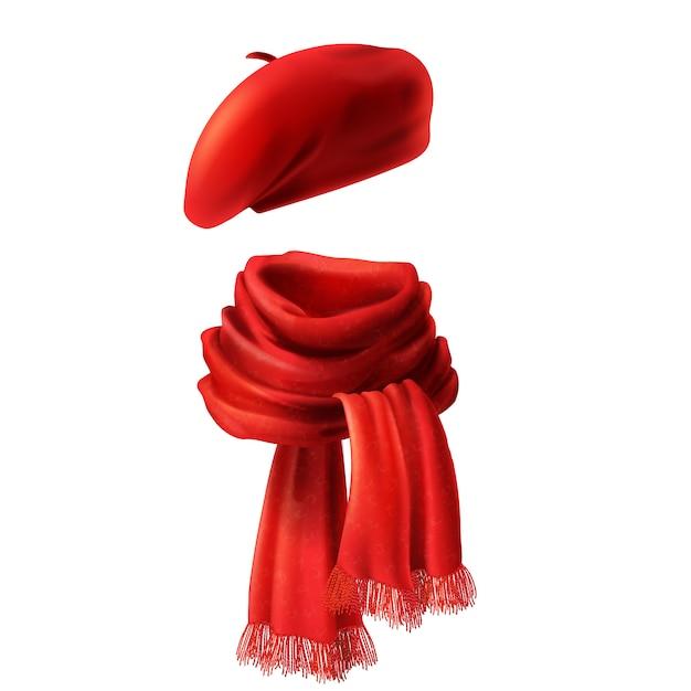 3d現実的なシルク赤いスカーフと帽子 - フランスの帽子、ベレー。ニット生地 無料ベクター