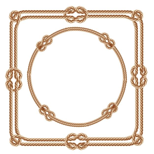 3d реалистичные квадратные и круглые рамки, выполненные из волоконных веревок. Бесплатные векторы