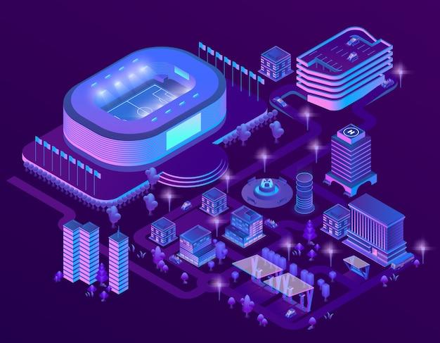 スタジアムと3dアイソメの紫外線メガポリス 無料ベクター