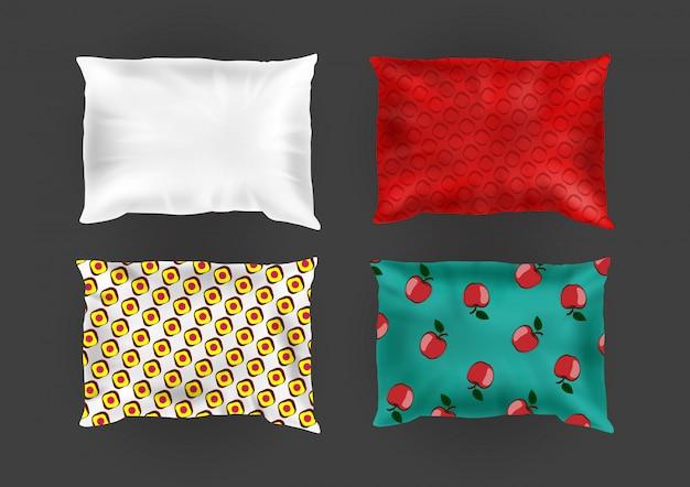 3d реалистичные удобные квадратные подушки в ярких наволочках, разные узоры на шелке Бесплатные векторы