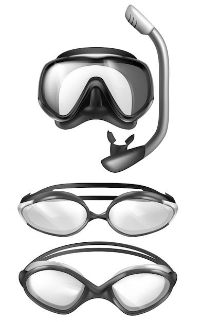 Набор 3d реалистичной маски для подводного плавания и защитных очков для купания в бассейне. подводные устройства. Бесплатные векторы