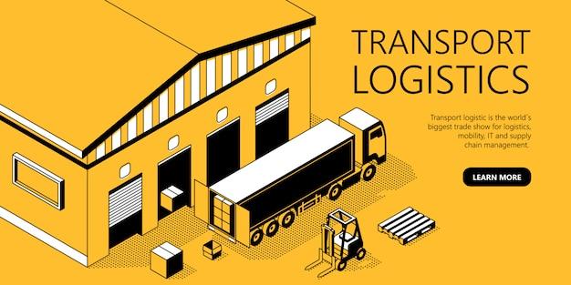 3d-изометрический шаблон сайта - транспортная логистика Бесплатные векторы