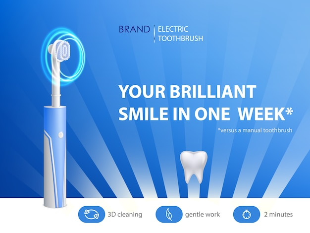 広告ポスターの3d現実的な歯ブラシ。衛生用品のプロモーションバナー 無料ベクター