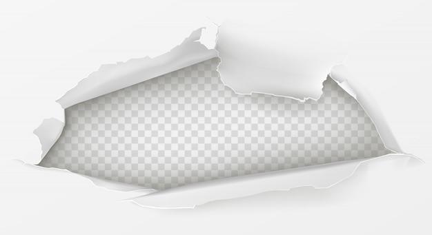 Отверстие в листе белой бумаги 3d реалистично Бесплатные векторы