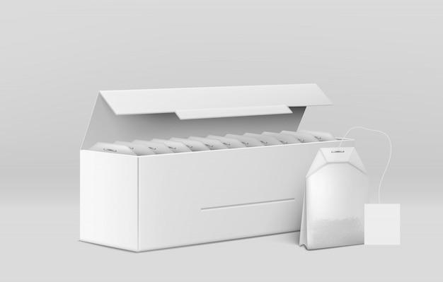 Чайная упаковка 3d Бесплатные векторы