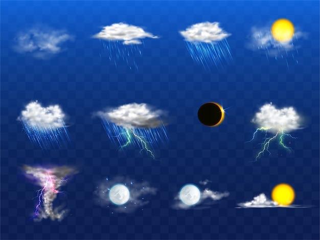 Вектор 3d реалистичный набор с элементами прогноза погоды Бесплатные векторы