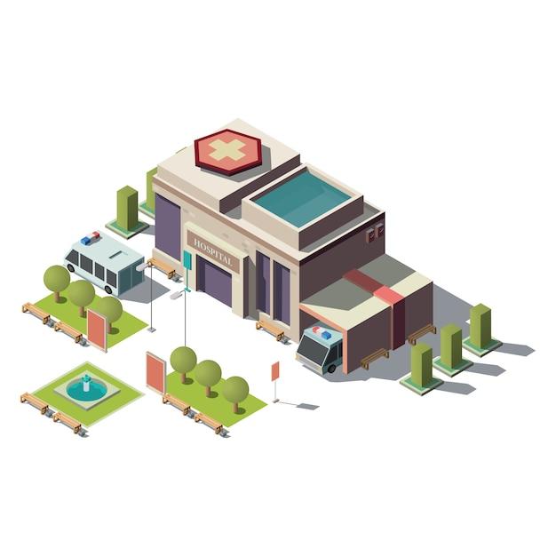 Вектор 3d изометрические больница, скорая помощь с парковкой Бесплатные векторы