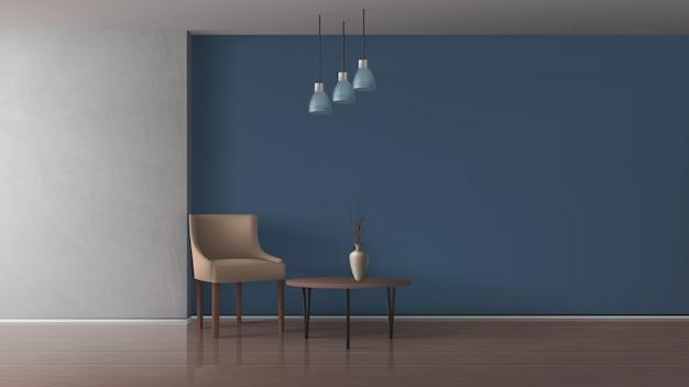 Квартира гостиная, просторная столовая, ресторан, гостиница или офисный зал, лаундж 3d реалистичный векторный макет с удобным креслом, элегантная ваза на журнальном столике в вместительной иллюстрации интерьера Бесплатные векторы