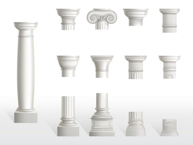 Части древней колонны, базы, шахты и столицы установлены. древние классические декоративные колонны римской или греческой архитектуры, белый мраморный камень. тосканский, дорический, ионический орден. реалистичные 3d векторная иллюстрация Бесплатные векторы