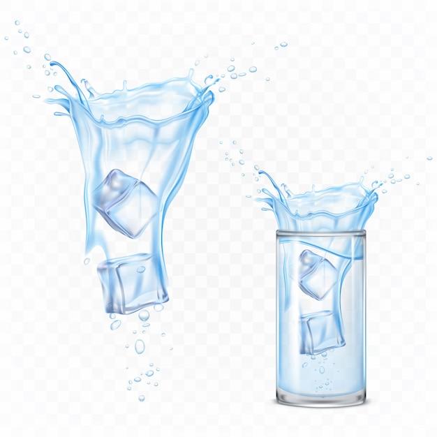 Всплеск воды с кубиками льда и стекла. динамическое движение чистой жидкости с каплями и пузырьками воздуха, чистый элемент гидратации для изоляции. реалистичные 3d векторная иллюстрация Бесплатные векторы