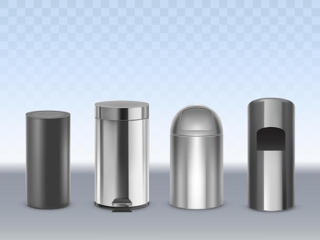 Мусорные баки из нержавеющей стали 3d реалистичные вектор набор изолированных на прозрачный. цилиндрические матовые черные, глянцевые, хромированные металлические контейнеры для отходов с подвижной крышкой и изображением педали Бесплатные векторы