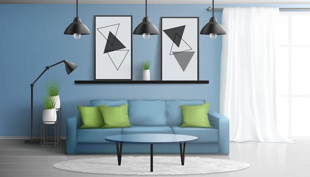 Уютный дом или квартира гостиная 3d реалистичный вектор современный интерьер с мягким диваном, стеклянный журнальный столик, картины на стене, белый ковер на полу ламинат, большие окна иллюстрации Бесплатные векторы