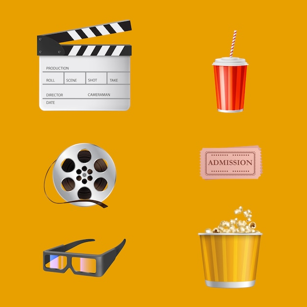 Кинотеатр, элементы индустрии развлечений кино 3d реалистичные Бесплатные векторы