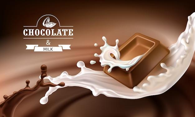 Векторные 3d брызги расплавленного шоколада и молока с падающими кусками шоколадных батончиков. Бесплатные векторы